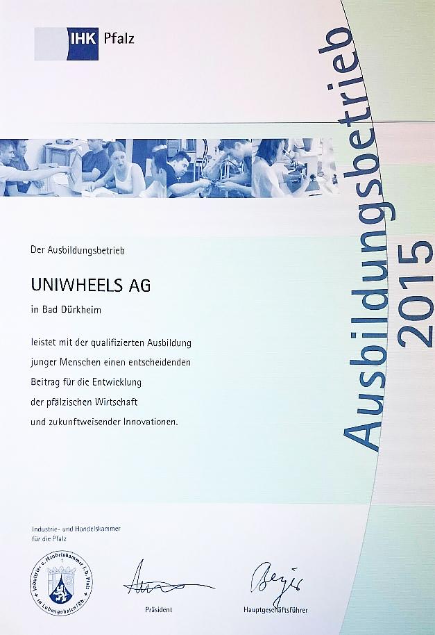 UNIWHEELS Ausbildungsbetrieb 2015