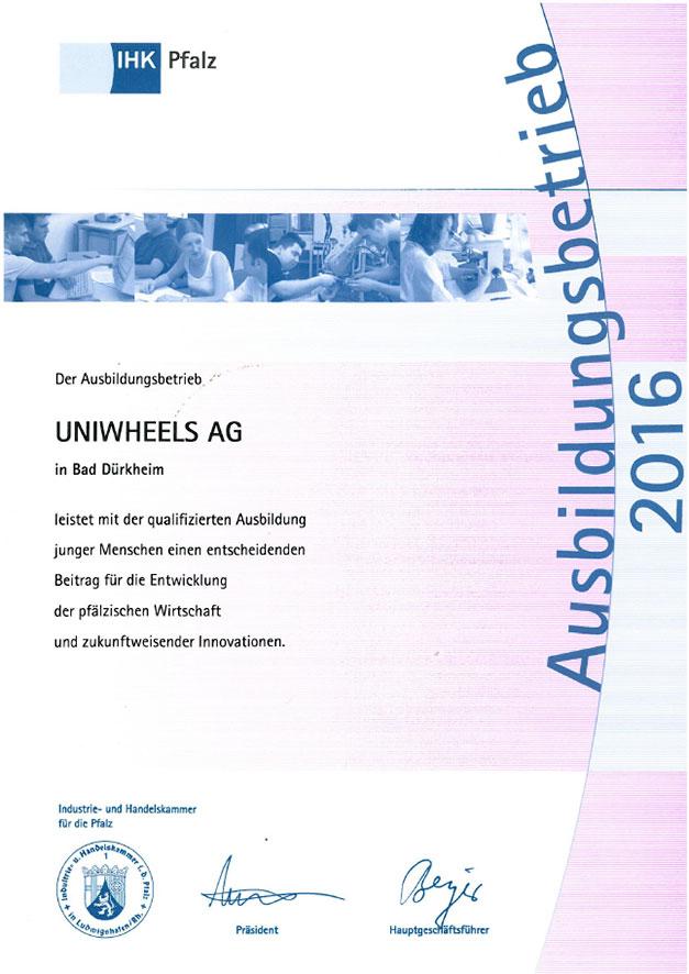 UNIWHEELS Ausbildungsbetrieb 2016